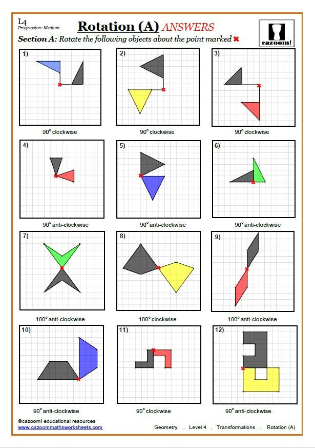 Transformations Math Worksheets Transformations Worksheets with Answers