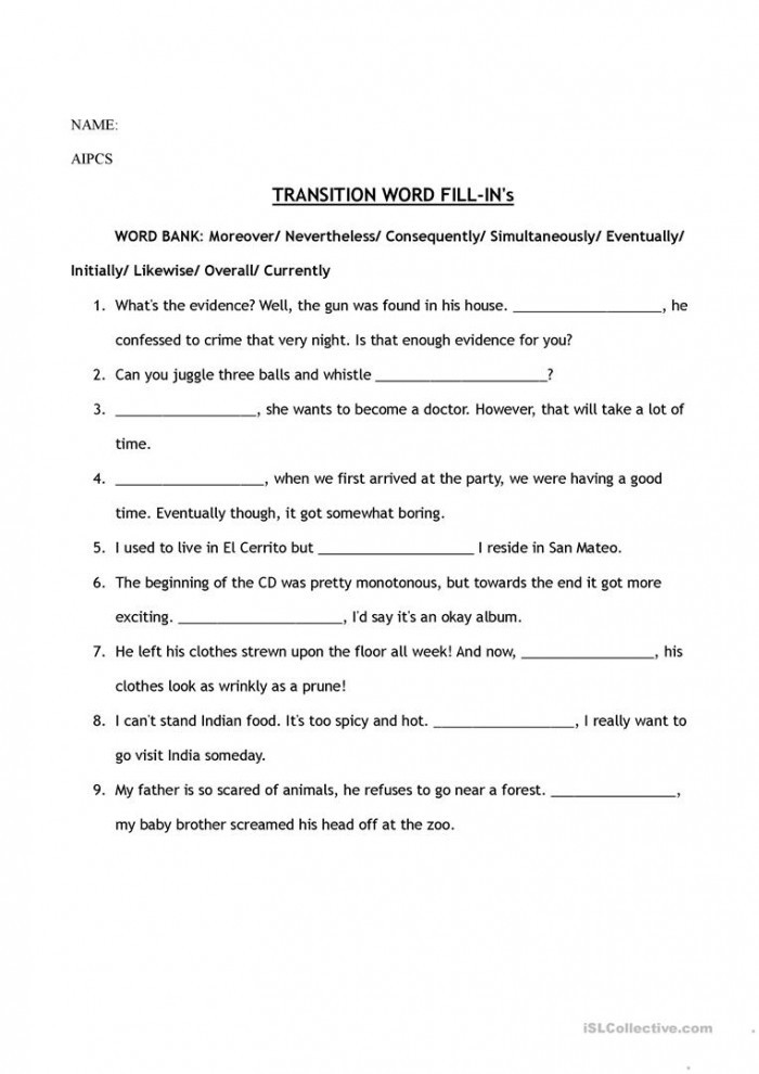 Transition Words Worksheets 4th Grade Fill In the Transition Words Worksheets