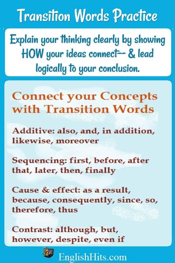 Transition Words Worksheets 4th Grade Transition Words Practice