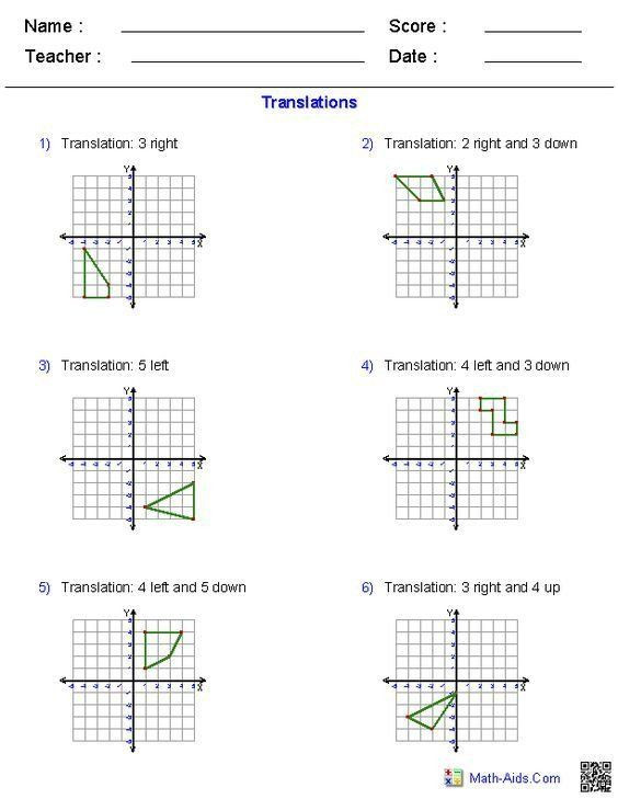 Translation Worksheets Math 30 Transformation Math Worksheets In 2020
