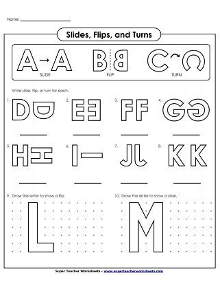 Translation Worksheets Math Flip Slide Turn Printables