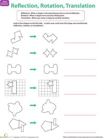 Translation Worksheets Math Worksheets Reflection Rotation Translation