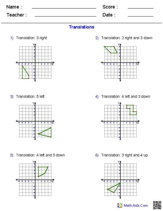 Translations Worksheets Math Geometry Worksheets