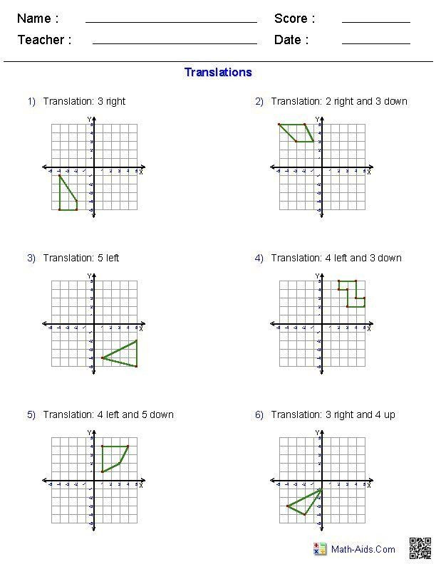 Translations Worksheets Math Pin On Worksheet Template for Teachers