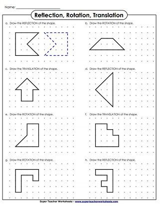 Translations Worksheets Math Translate Rotation Reflection Drawing
