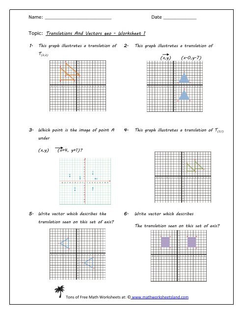 Translations Worksheets Math Translations and Vectors Geo Worksheet Five Pack Math