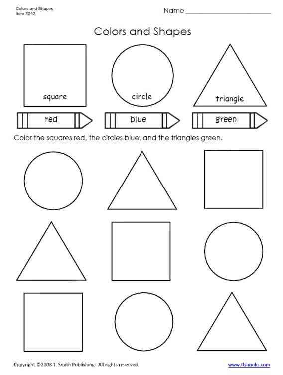 Triangle Worksheet for Kindergarten Colors and Shapes Worksheet From Tlsbooks