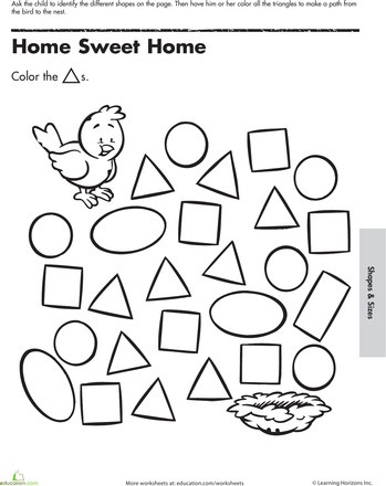 Triangle Worksheet for Kindergarten Follow the Triangles