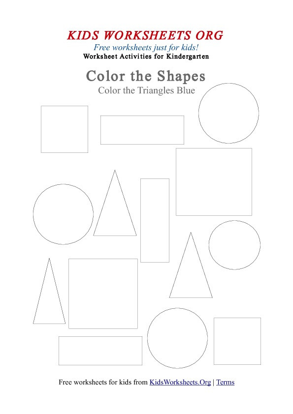 Triangle Worksheet for Kindergarten Kindergarten Triangle Shapes Coloring Worksheet