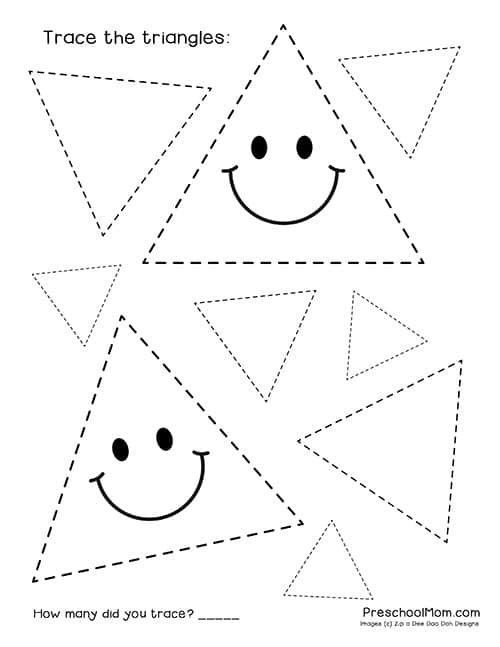 Triangle Worksheet for Kindergarten Shape Tracing Worksheets Preschool Mom