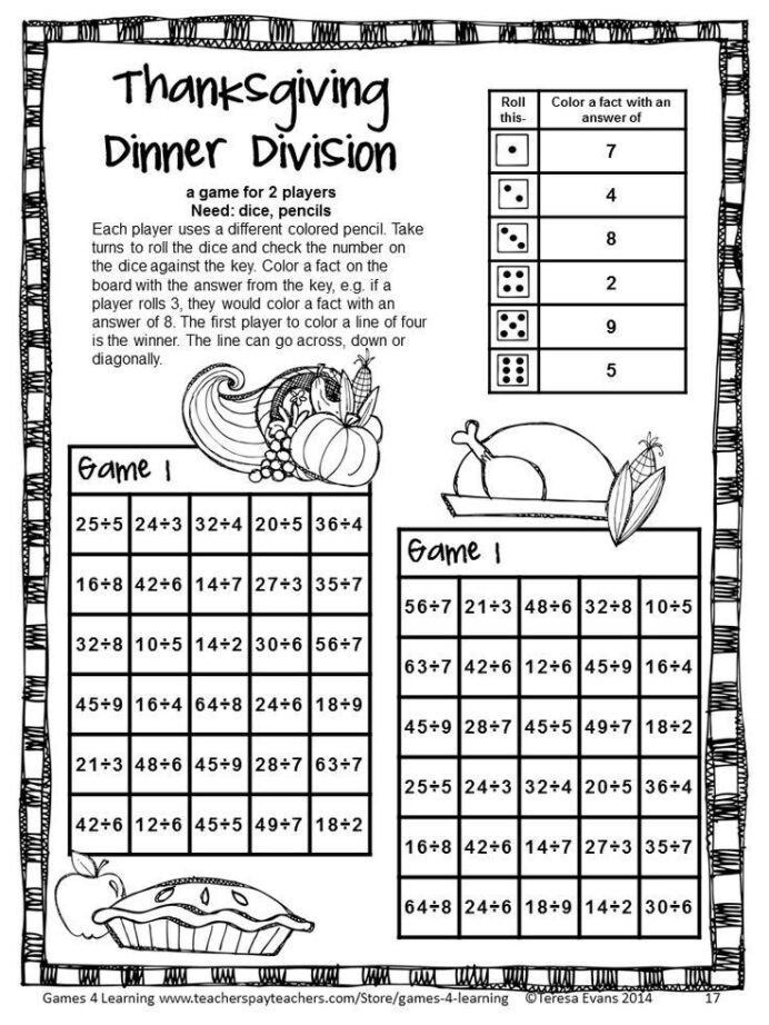Turkey Math Worksheet No Prep Thanksgiving Math Games Fourth Grade with Turkeys