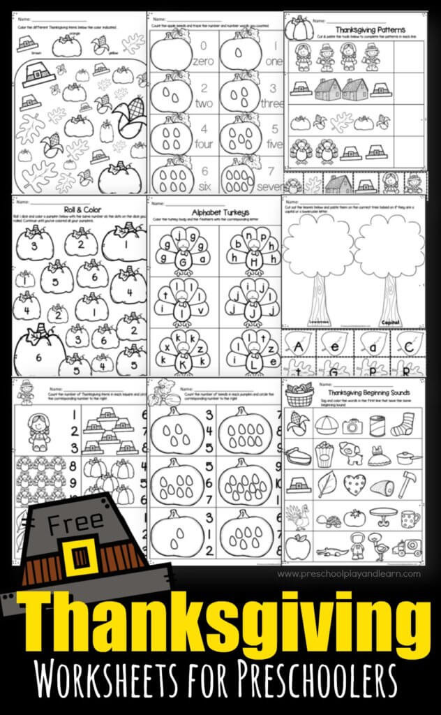 Turkey Math Worksheet Thanksgiving Worksheets for Preschoolers