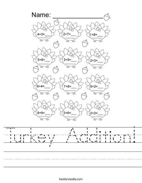 Turkey Math Worksheet Turkey Addition Worksheet Twisty Noodle