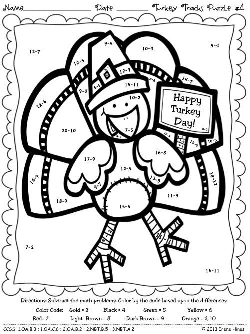 Turkey Math Worksheet Turkey Tracks & Feather Facts Math Printables Color by the