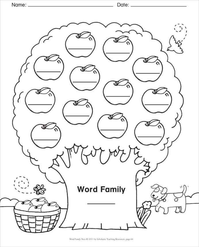 Typing Worksheets Printables Word Family Template Blank Tree Spelling Words Phonics