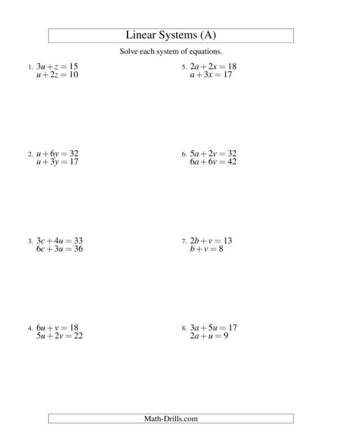 Variables Worksheets 5th Grade Systems Linear Equations Two Variables Math Worksheets