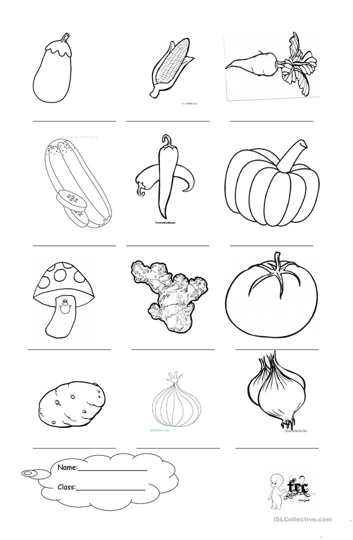 Vegetable Worksheets for Kindergarten Ve Ables Coloring English Esl Worksheets for Distance