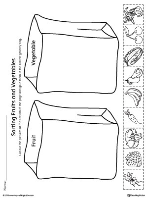 Vegetables Worksheets for Kindergarten sorting Fruits and Ve Ables In Grocery Bags