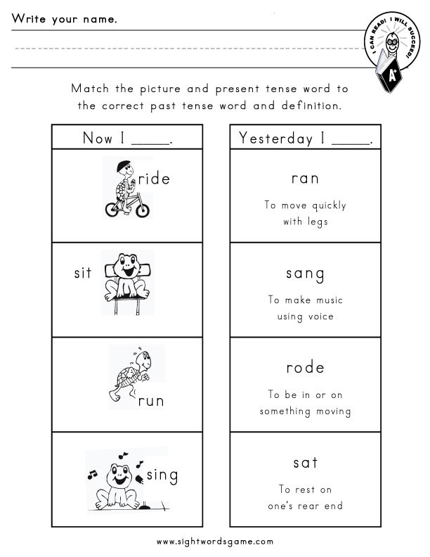 "Verb Tense Worksheets 1st Grade Past Tense Verbs Worksheets Grade 1 لم يسبق له Ù…Ø ÙŠÙ"" الصور"