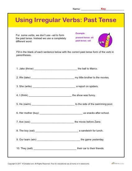 Verb Tense Worksheets 1st Grade Using Irregular Verbs Past Tense