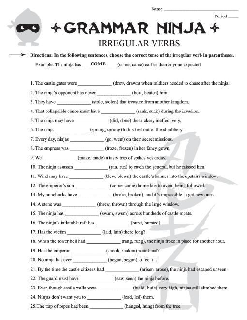 Verbs Worksheet 4th Grade Free English Grammar Worksheets for 4th Grade 3