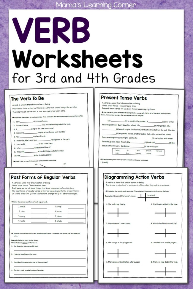 Verbs Worksheet 4th Grade Verb Worksheets for 3rd and 4th Grades Mamas Learning Corner