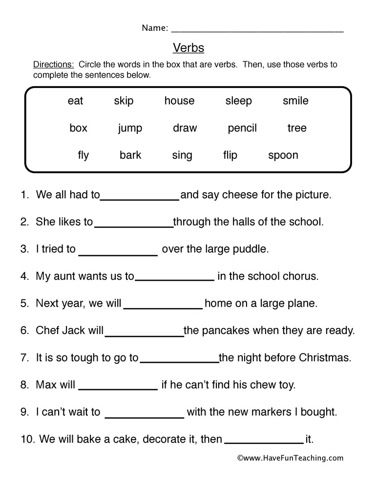 Verbs Worksheets First Grade Fill In the Blanks Verb Worksheet