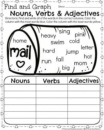 Verbs Worksheets for 1st Grade 1st Grade Math and Literacy Worksheets for February
