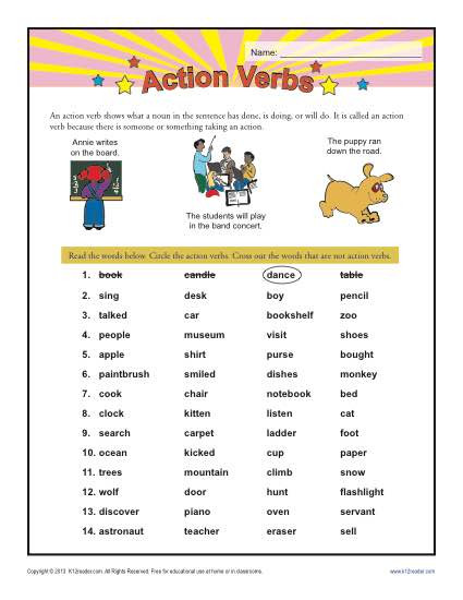 Verbs Worksheets for 1st Grade Action Verbs