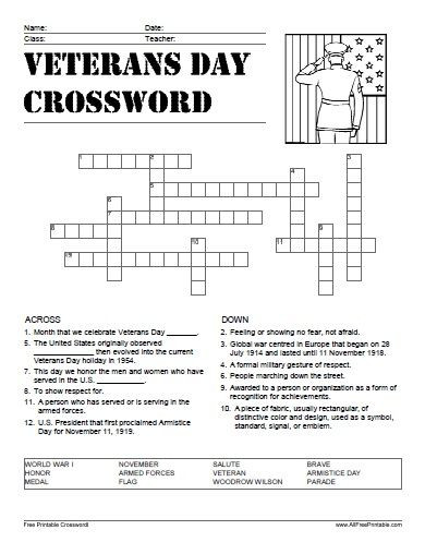 Veterans Day Math Worksheets Veterans Day Crossword