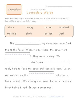 Vocabulary Worksheets for 1st Graders Fill In the Blanks Vocabulary Worksheet 1
