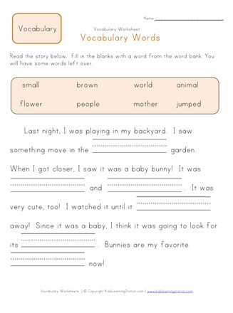 Vocabulary Worksheets for 1st Graders Fill In the Blanks Vocabulary Worksheet 2