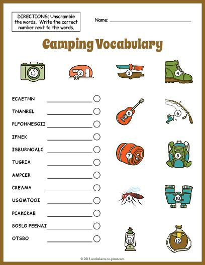 Vocabulary Worksheets for 1st Graders Free Printable Camping Vocabulary Worksheet