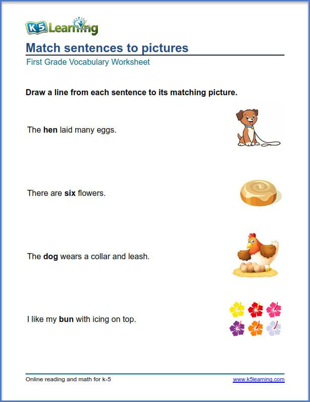 Vocabulary Worksheets for 1st Graders Grade 1 Math Pictures to Sentences