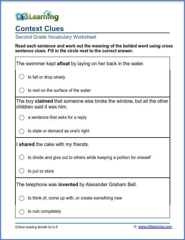 Vocabulary Worksheets for 1st Graders Grade 2 Vocabulary Worksheet Context Clues