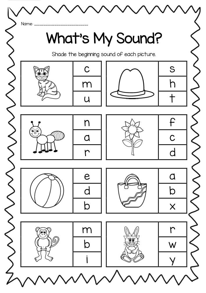 Vowel Worksheets for Kindergarten Beginning sounds Printable Worksheet Pack Kindergarten