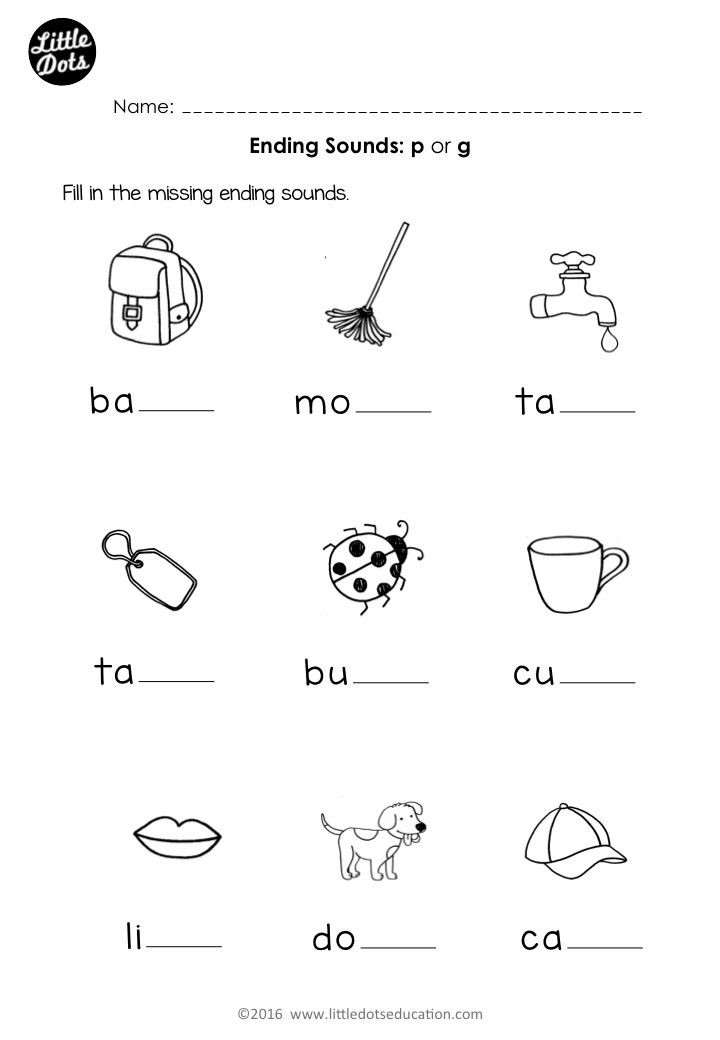 Vowel Worksheets for Kindergarten Free Preschool Phonics Ending sounds P and G Worksheet for