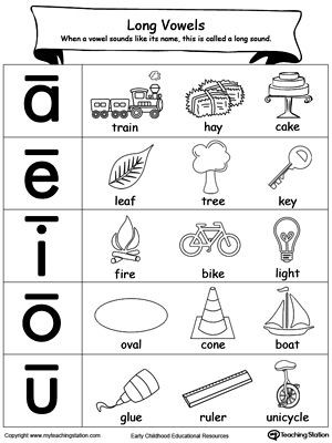 Vowel Worksheets for Kindergarten Long Vowels sound Picture Reference