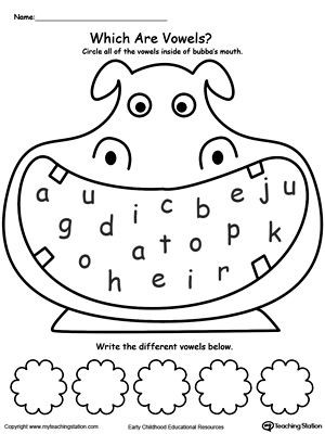 Vowel Worksheets for Kindergarten Practice Recognizing Vowels
