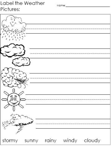 Weather Worksheets for 2nd Graders Label the Weather Words Worksheets