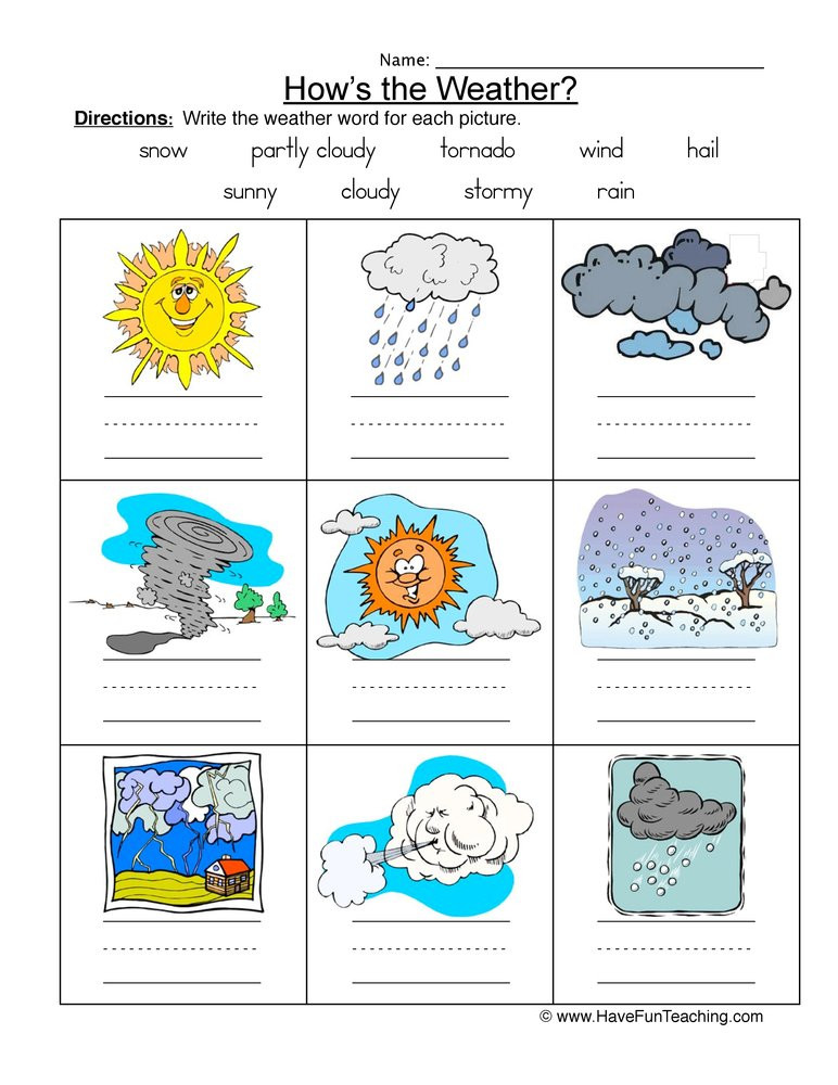 Weather Worksheets for First Graders Weather Names Worksheet