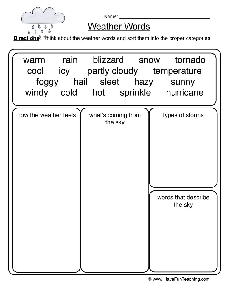 Weather Worksheets for Second Grade Weather Words Worksheet