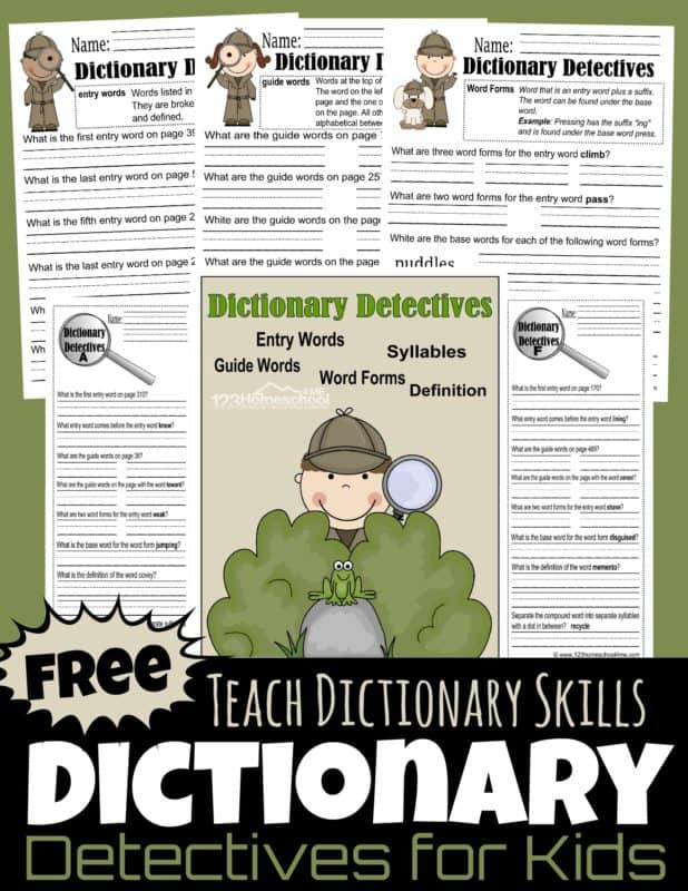 Word form Worksheets 4th Grade Free Dictionary Detective Worksheets for Kids