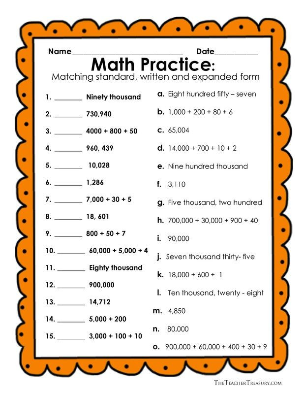 Word form Worksheets 4th Grade Reading and Writing Numbers In Expanded form Standard form