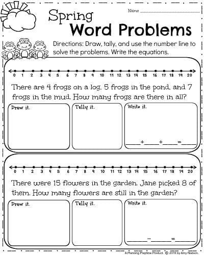 Word Problem Worksheets 1st Grade Spring Word Problems Worksheets