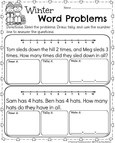 Word Problems for Kindergarten Worksheets Kindergarten Math and Literacy Printables February In 2020
