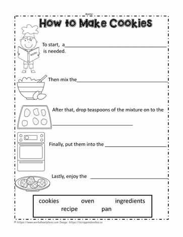 Writing Worksheet 2nd Grade How to Make Cookies Worksheets