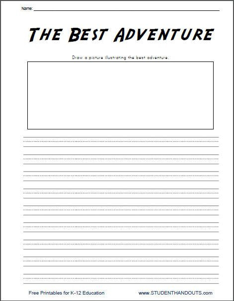 Writing Worksheet 2nd Grade the Best Adventure K 2 Writing Prompt