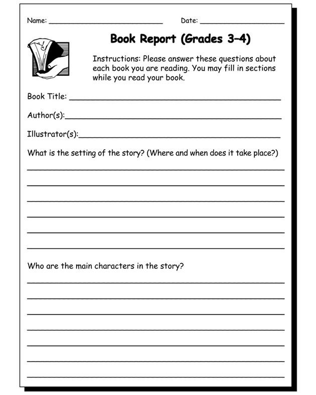 Writing Worksheets 4th Grade Book Report Worksheet Grades 3 and 4