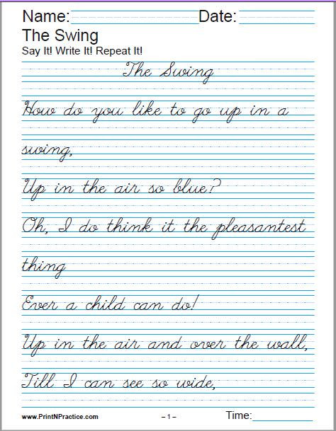 Writing Worksheets 4th Grade Printable Handwriting Worksheets ⭐ Manuscript and Cursive